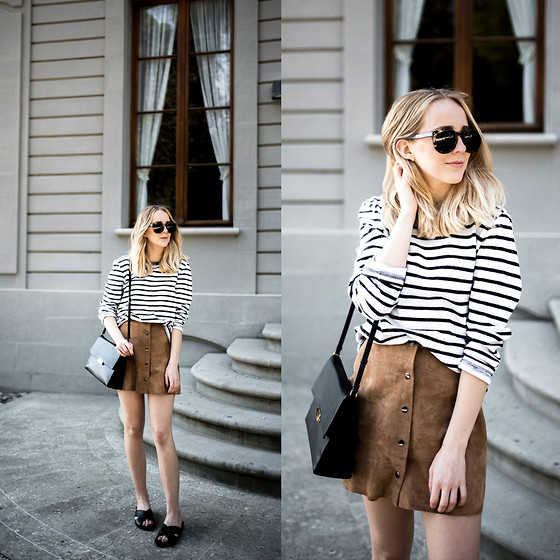 TIPHAINE MARIE - Skirt, Slippers, Sunglasses, Bag - Suede skirt.