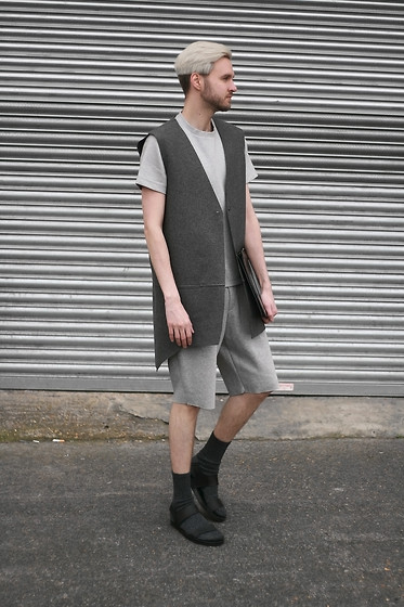 Geraint Donovan-Bowen - Berthold Gilet, Joseph Neoprene T Shirt, Joseph Neoprene Shorts, Topman Clutch, Primark Socks, Zara Sandals - His Name Is Grey