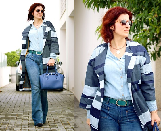 Teresa Leite - Asos Denim Patchwork Coat, Zara Denim Shirt (Old), Mango Flared Jeans (Old), Mango Blue Tote Bag (Old), One Rose Gold Watch, Guess? Rose Gold Medallion Chain Necklace - Denim Overkill!