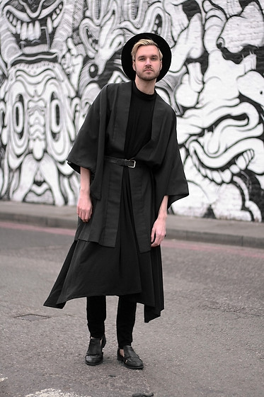 Geraint Donovan-Bowen - Topman Fedora, Rokit Kimono, The Freak Show Dress, Topshop Belt, Nudie Jeans, Topman Shoes - His Name Is Magic