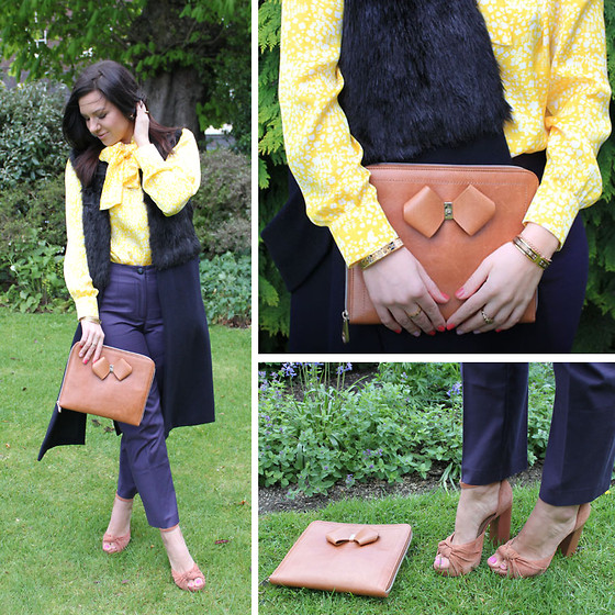 Yuiya @ Yukova Blog - Ted Baker Clutch, Frey Wille Bangle, Topshop Sandals, Zara Vest, Yukova Design Blouse, Yukova Design Cropped Trousers - Yellow Bow