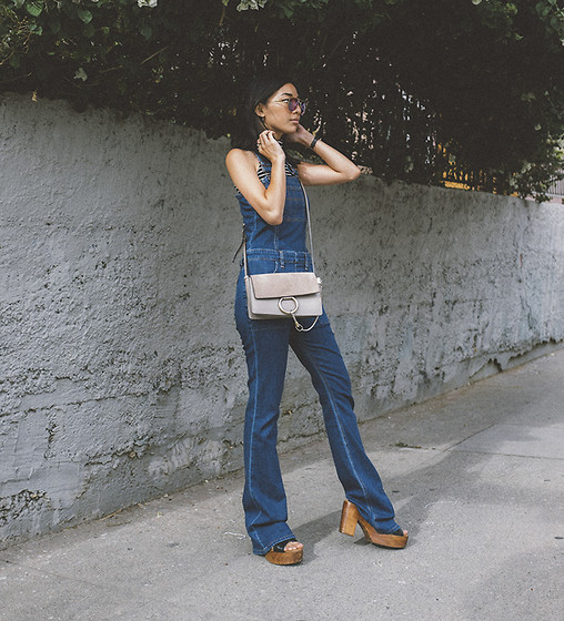 Stephanie Liu - Joe's Jeans Overalls, Chloe Bag - Flared Overalls