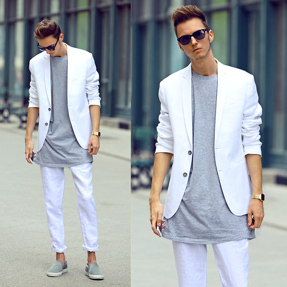 Chaby H. - White Blazer, Elongated T Shirt, Leather Slipon - Welcome Spring