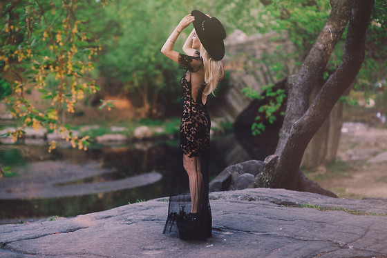 "Rachel Lynch - Nasty Gal Black Hat, For Love & Lemons Black Lace Dress, Jeffrey Campbell Black Platforms - ""i have floated here on streams with you"""