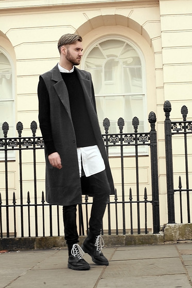 Geraint Donovan-Bowen - Asos Sleeveless Coat, Boohoo Jumper, Rabbithole London Shirt, Open Jeans, Dr. Martens Boots - His Name Is Dusty