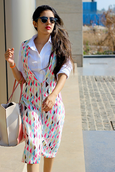 LipiGanatra -  - Flag Blazer dress - Thebrime.com , White Shirt- Topshop