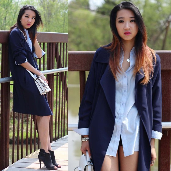 Jeannie Y - Forever 21 Trench Coat, H&M Dress Shirt, Mackage Crossbody, Aldo Heels - On Trench