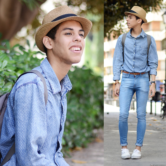 Andrés Barreto - Zara Hat, Pull & Bear Denim Shirt, Primark Backpack, Pull & Bear Belt, Daniel Wellington Watch, Pull & Bear Skinny Jeans, Asos Sneakers - Wanderlust.