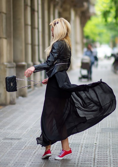 Tijana J.D - Rosewholesale Jacket, Sheinside Bag, Choies Maxi Dress, Converse Sneakers - Black Magic Woman