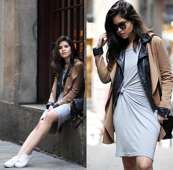 Adriana Gastélum - Karen Walker Sunnies, Diy Knot Dress, Proenza Schouler Ps11 - Spring Layering