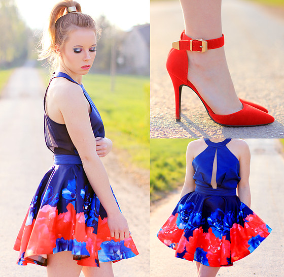 Wioletta Mary Kate - Romwe Dress - Red & Blue Roses