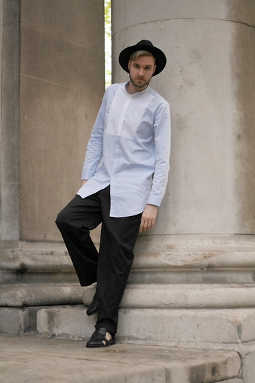Geraint Donovan-Bowen - Topman Fedora, Gypsy East Jewels Septum Ring, Reclaimed Vintage Shirt, Asos Trousers, Topman Shoes - His Name Is Chambray
