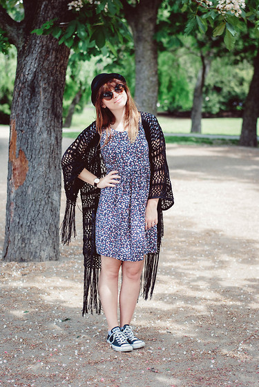 *** Kristýna *** - C&A Cardigan With Fringes, C&A Floral Dress, Converse Black, Sparkly Chucks, H&M Black Hat, C&A Rounded Sunglasses - Coachella Style