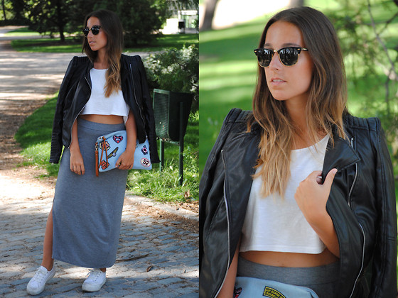 Claudia Villanueva - Ray Ban Sunglasses, Suiteblanco Crop Top, Zara Jacket, Lola Pons Clutch, H&M Maxi Skirt, Asos Sneakers - Patchwork