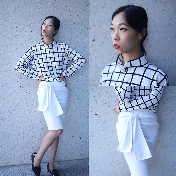 Cissy Zhang - The Label Black And White Shirt, The Label White Wrap Skirt - Chic lines