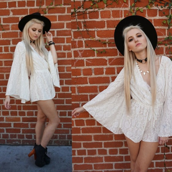 Kristen Prater - Rise Of Dawn Romper, Jeffrey Campbell Lita Boots, Tunnel Vision Choker - NIGHTS IN WHITE LACE