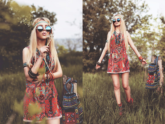 Krist Elle - My Dress Room Orange Patterned Romper, My Dress Room Round Sunglasses - Child of Nature