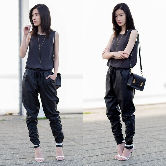 Claire Liu - Minkpink Faux Leather Jogger, Chaser Drape Back Tank - Faux Leather Jogger