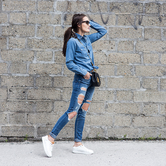 Anouska Proetta Brandon - Topshop Shirt, Guess? Jeans, Shoes - Double Denim