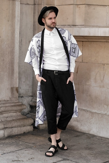 Geraint Donovan-Bowen - Topman Fedora, Koro Kimono, Open Shirt, Beyond Retro Belt, All Saints Trousers, Zara Sandals - His Name Is Koro