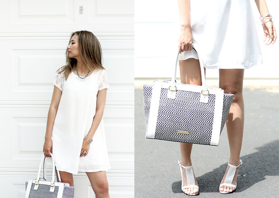 Queen Horsfall - Sheinside White Lace, Bebe Straw Tote (Similar), Rachel Marie Designs - Pure Love