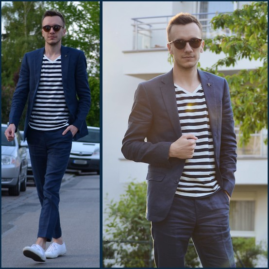 Sven A - Asos Linen Suit, H&M Striped Shirt, Superga 2750 - Suited stripes