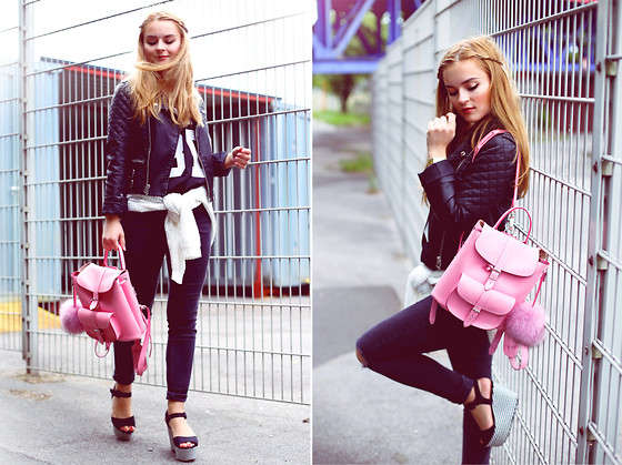 Romina M. - Grafea Bagpack, Topshop Leather Jacket - Pink Love