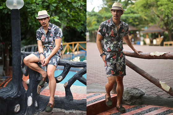 The Filo Dapper - The Man On Street Polo, The Man On Street Shorts, Blackbeard Boat Shoes, Cappella Fedora Hat - Birds of Paradise