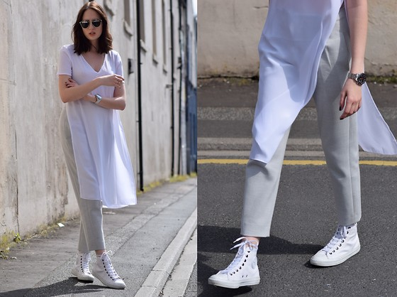 Lizzy Hadfield - Converse, Asos Long Top, French Connection Uk Grey Trousers - High Tops
