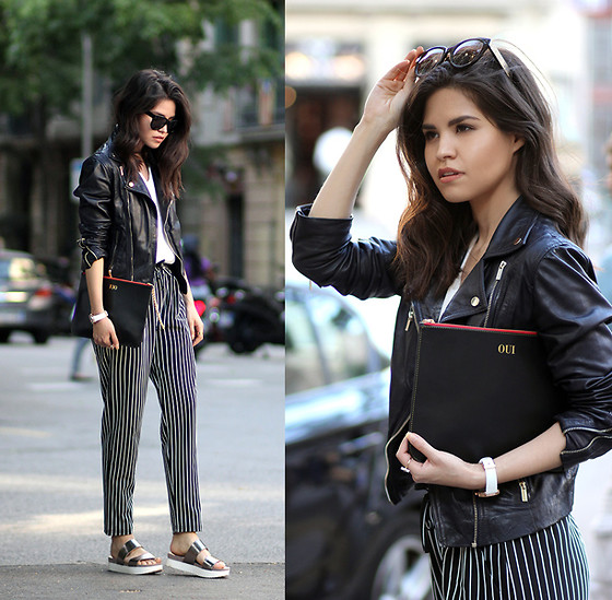 Adriana Gastélum - Sheinside Striped Joggers, Céline Audrey Sunglasses, Wanted Metallic Flatform Sandals, Rounn Leather Customized Clutch - Oui to the weekend