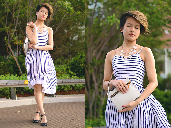 Julie Đặng - Abercrombie Kids Stripe Midi Dress, Urban Outfitters Black Kitten Heels, Kate Spade Zipline Crossbody Clutch, Lure Boutique Daisy Necklace - It's A New Day, A New Season