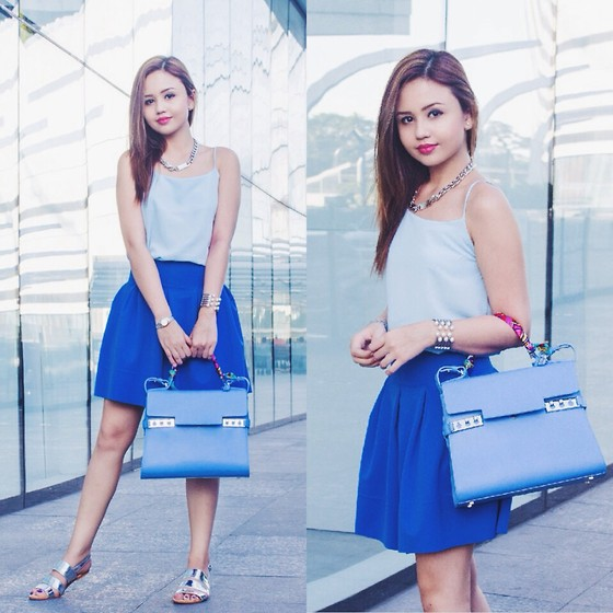 Nicole Aguinaldo - Lola Daisies Top, Ripples By Jenny Skirt, Delvaux Bag - Of Blues & Silver Linings