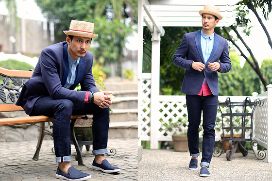 The Filo Dapper - Bench Denim Blazer, Bench Button Down Shirt, Bench Selvedge Jeans, Rivieras Shoes Slip On, Albertus Swanepoel Hat - Filipino Dapper