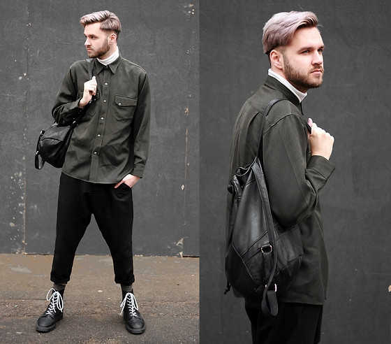 Geraint Donovan-Bowen - Topman Roll Neck, Rokit Vintage Shirt, Rokit Vintage Backpack, All Saints Trousers, H&M Socks, Dr. Martens Boots - His Name Is #LCM Day 1