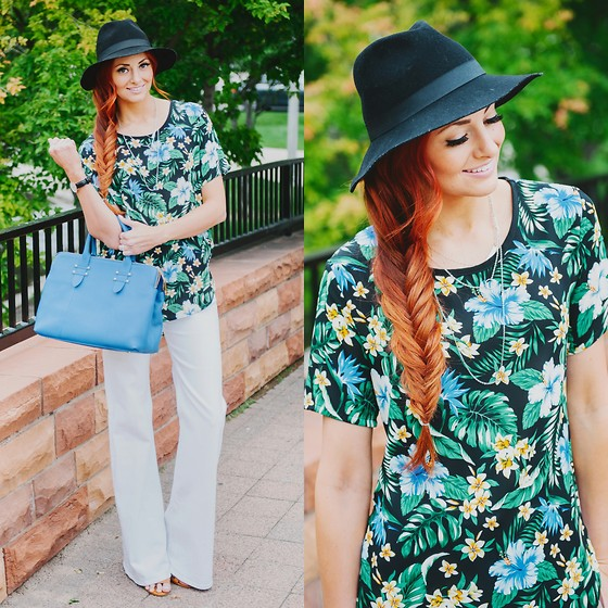 Jackie Welling - Poppy & Dot Tropical Tee, 7 For All Mankind White Trousers, Gigi New York Blue Parker Satchel - Tropical Tee