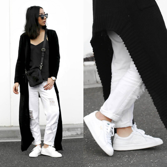 Kristy Wu -  - Floor Length Cardi + White Sneakers