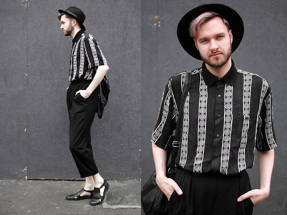 Geraint Donovan-Bowen - Topman Fedora, Rokit Vintage Shirt, Rokit Vintage Backpack, Rokit Vintage Trousers, Topman Shoes, Gypsy East Jewels Septum Ring - His Name Is #LCM Day 2