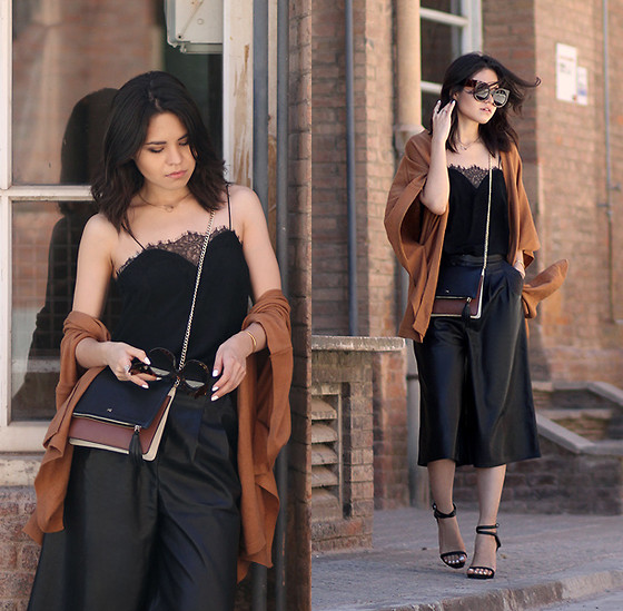 Adriana Gastélum - Cami Nyc Lace Camisole, Asos Faux Leather Culottes, Wildfox Sunnies - Brickwalls & leather