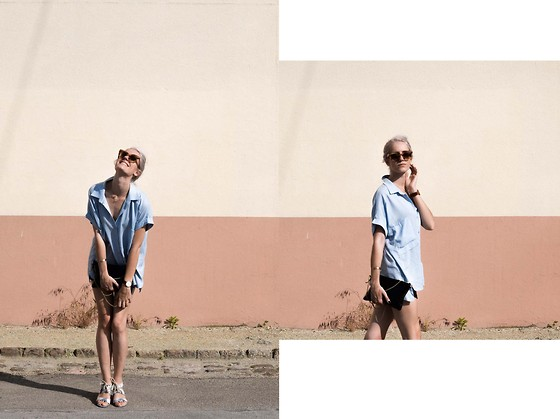 Laugh of Artist - Chic Wish Blouse, Brandy Melville Usa Short, Sezane Sandals, Triwa World Glasses, 1951 Bag - Marrakech style