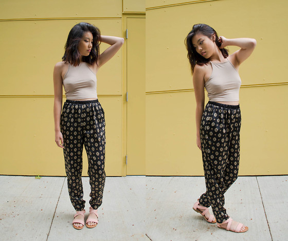 Cleo - Pacsun Halter Crop Top, Forever 21 Bohemian Styled Pants, Zooshoo Strappy Sandals - Empire