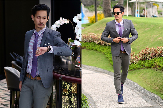 The Filo Dapper - Bench Windowpane Blazer, Bench Button Down Shirt, Bench Neck Tie, Bench Belt, Bench Chino Pants, Bench Brogue Shoes, Bench Clubmaster - Sofitel break