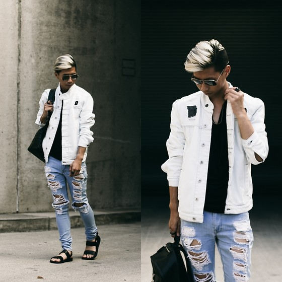 Tommy Lei - Hudson Denim Jacket, Asos Distressed Denim, Jerusalem Sandals Black, Tom Ford Aviator Sunglasses - DISTRESSED