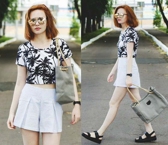 Kristina Magdalina - Style Moi Shorts, Wholesalebuying Sunglasses, Wholesalebuying Top, Dressgal Bag - Palm print.