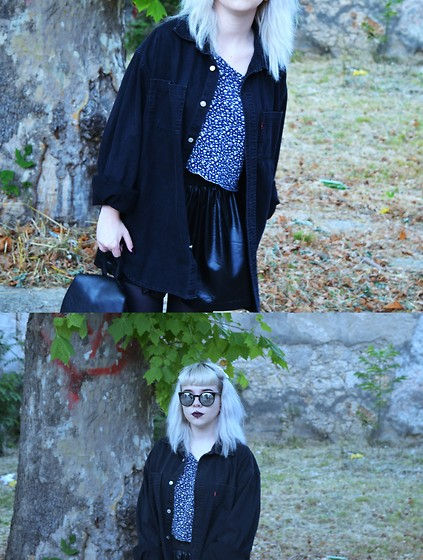 Min M - Levi's® Shirt, Tally Weijl Top, Secondhand Skirt, New Yorker Sunglasses - Icy black