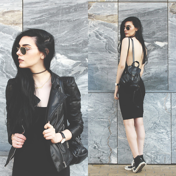 CLAUDIA Holynights - New Yorker Biker Jacket, Genuine People Backless Dress, Daniel Wellington Watch - All black