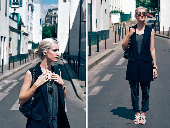 Laugh of Artist - Sezane Sandals, Karine Lecchi Jacket, Zara Combinaison, Chic Wish Glasses - KL