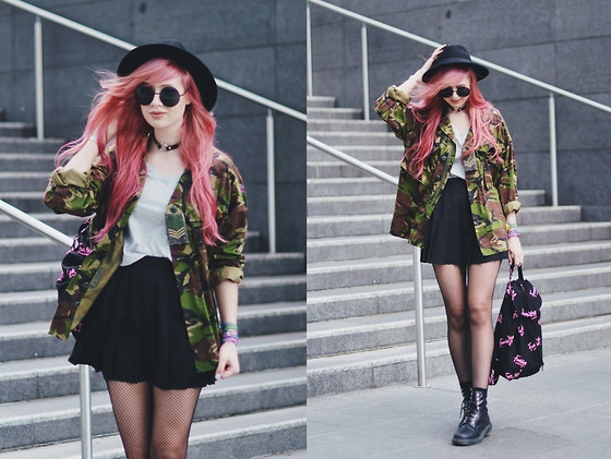 Amy Valentine - Vintage Camo Shirt, Sheinside Patch T Shirt, Stone Fox Black Tennis Skirt, Primark Black Fedora, Lazy Oaf Fuck Yes Rucksack, Dr Martens Snake 1460 Boot - CHANGE MY EVERYTHING