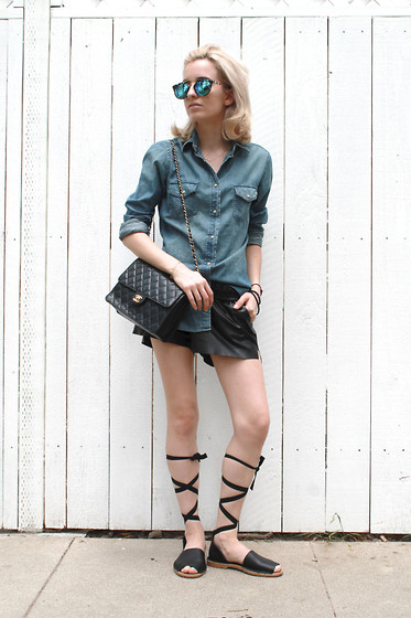 Liz Benichou - Uniqlo Denim Shirt, H&M Faux Leather Shorts, Topshop Lace Up Sandals, Chanel Vintage Bag, Polette Mirrored Sunglasses - Weekend Casual: H&M Mentor Contest