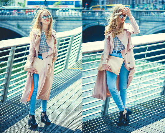 Anna Pogribnyak - Style Moi Trench Coat, Pull & Bear Clutch Bag, Pull & Bear Jeans, Topshop Sandals, Style Moi Bra, Style Moi Necklace, Dresslink Sunnies - Windy Dublin