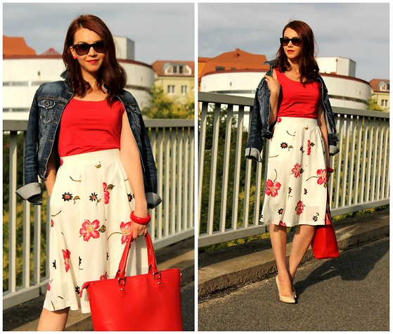 Jana Dishani - Stradivarius Denim Jacket, Ralph Lauren Sunglasses, Guess? Shoes, Margifashion Skirt - A new prospect for the red